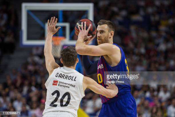 Víctor Claver during FC Barcelona Lassa victory over Real Madrid in Liga Endesa regular season game celebrated in Madrid at Wizink Center March 24th...
