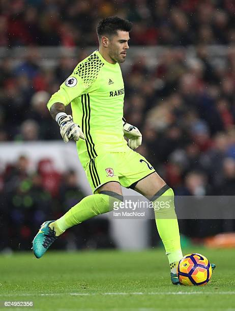 Víctor Valdes of Middlesborough is seen during the Premier League match between Middlesbrough and Chelsea at Riverside Stadium on November 20 2016 in...
