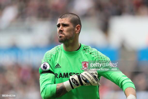 Víctor Valdes of Middlesbrough during the Premier League match between Swansea City and Middlesbrough at Liberty Stadium on April 2 2017 in Swansea...