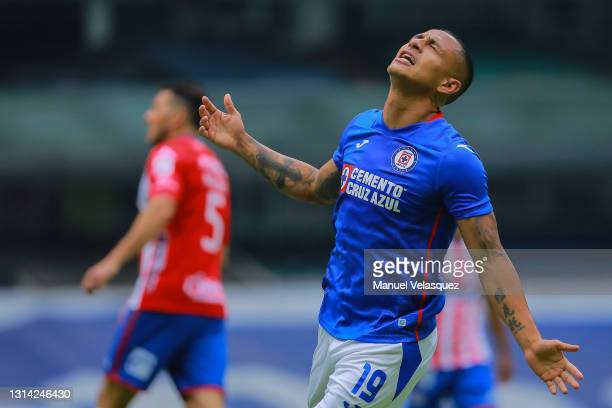 Víctor Yotun of Cruz Azul reacts after missing a chance of goal during the 16th round match between Cruz Azul and Atletico de San Luis as part of the...