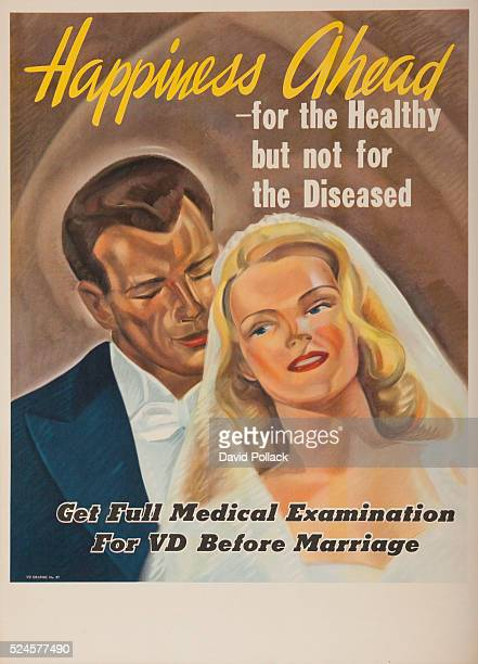 VDgraphic No97 Happiness ahead for the health but not fore the diseased get full medical examination for VD before marriage Portrait of bride and...