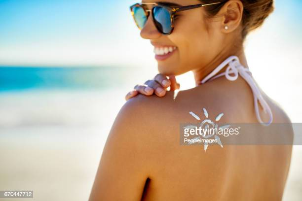 i've all the protection i need against the sun - sunscreen stock photos and pictures