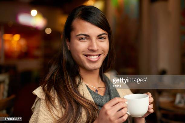 i've been coming to this coffee place for years - gender fluid stock pictures, royalty-free photos & images