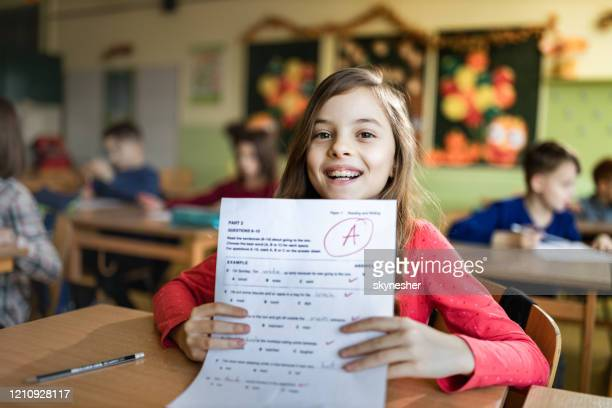 i've got an a on my exam! - test results stock pictures, royalty-free photos & images