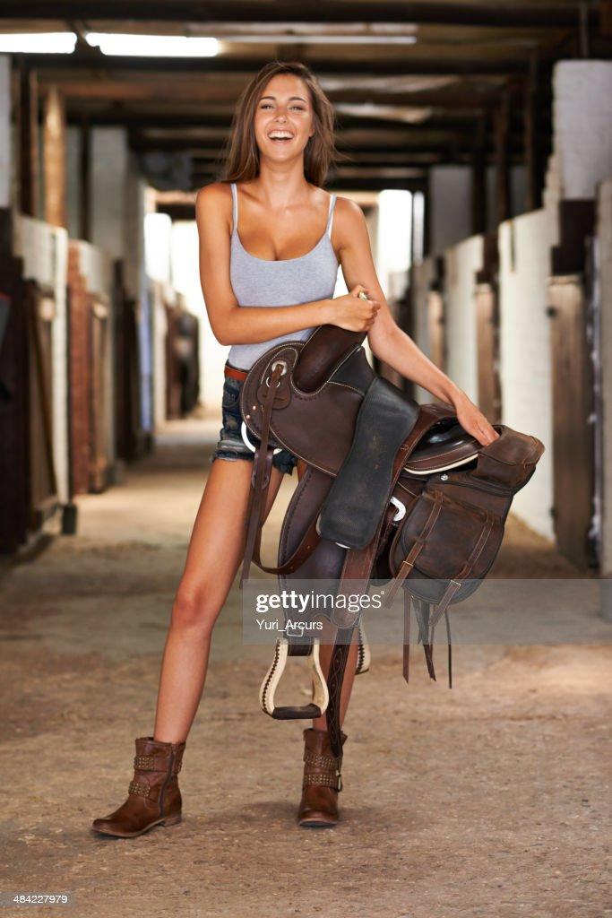 I've got my own saddle! : Stock Photo