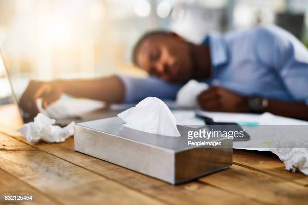 i've never used so many tissues before - flu virus stock pictures, royalty-free photos & images