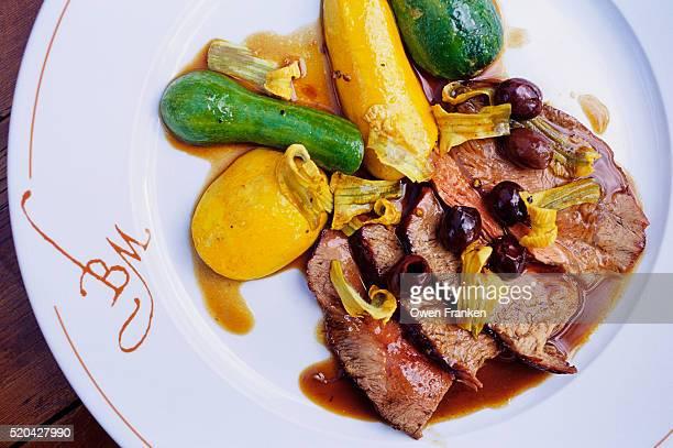 veal dish at la bastide de moustiers - alpes de haute provence stock pictures, royalty-free photos & images