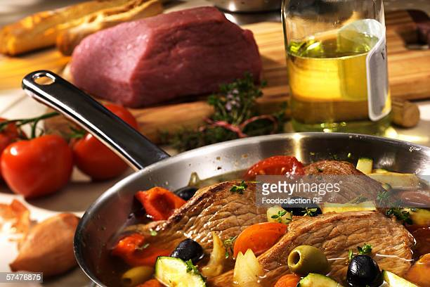 Veal escalopes in white wine with olives
