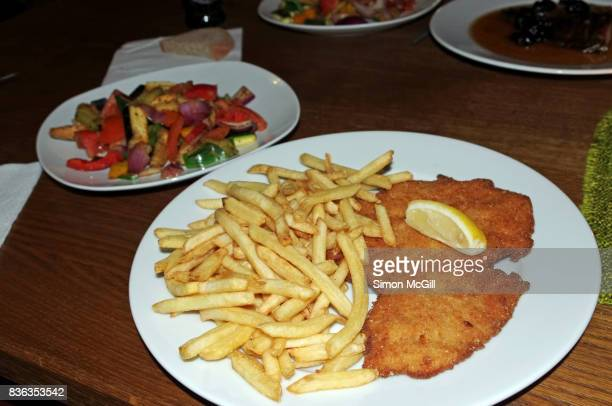 Veal Milanese and french fries, with a  side of grilled vegetables, in a restaurant