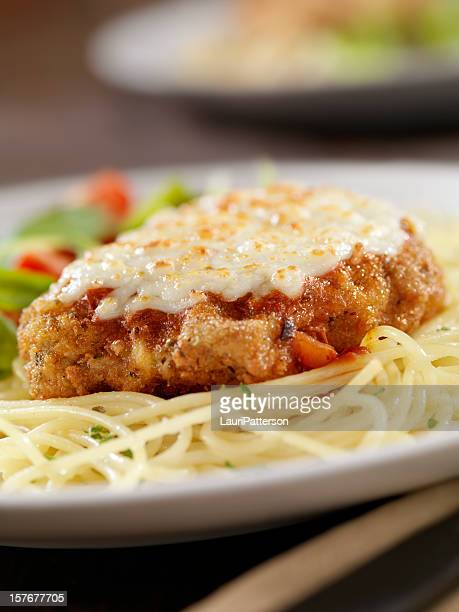 veal parmigiana with spaghetti - fritter stock photos and pictures