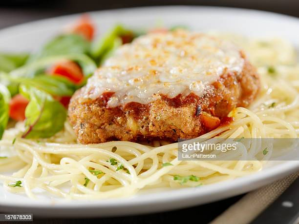 veal parmigiana with spaghetti - parmesan cheese stock pictures, royalty-free photos & images