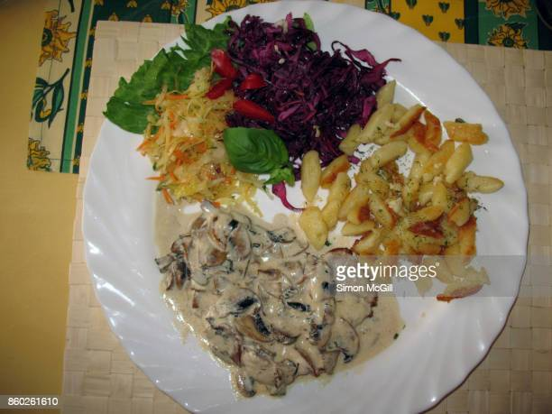 Veal served with sour cream mushroom sauce, red and white cabbage salads and fried spätzle (soft egg noodle dumplings)