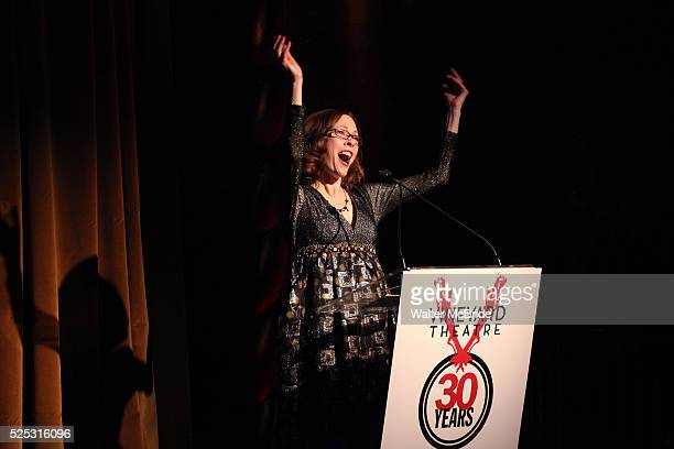 Veanne Cox performing at the Vineyard Theatre's 30th Anniversary Gala Celebration Cocktail Reception at the Edison Ballroom in New York City on...