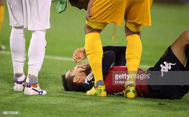 Vecino Matias of Cagliari looks injured during the Serie A match between Cagliari Calcio and Hellas Verona FC at Stadio Sant'Elia on March 26 2014 in...