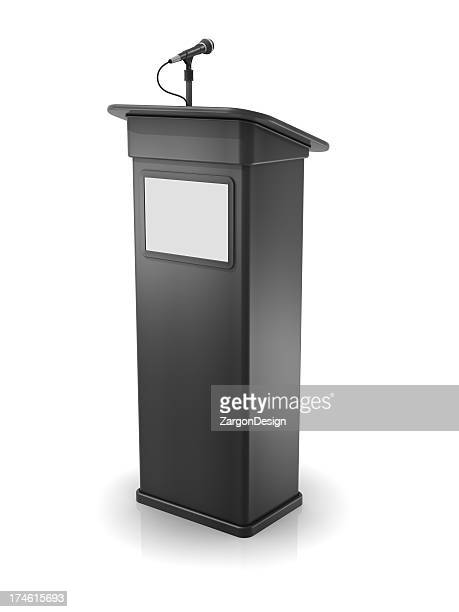 Vector illustration of a gray podium with screen and mic