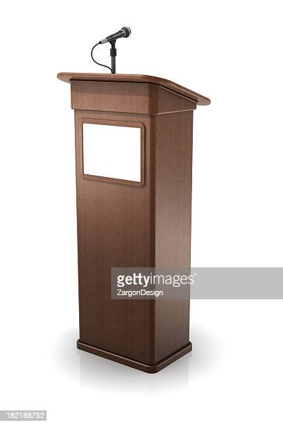 Vector illustration of a wooden podium