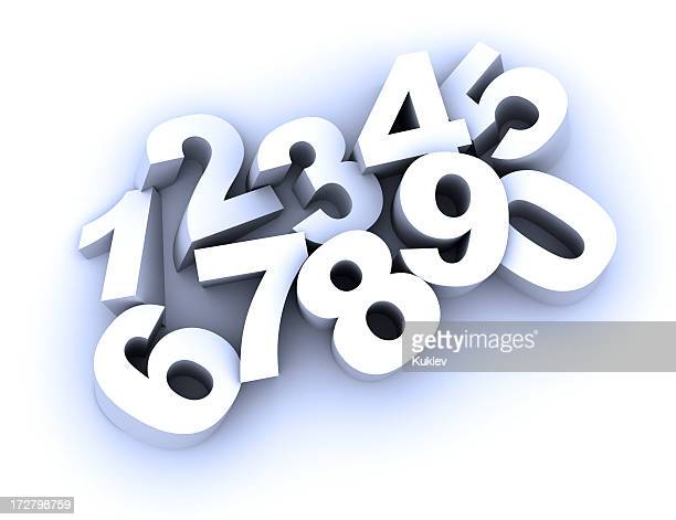 3D vector illustration of numbers from zero to nine