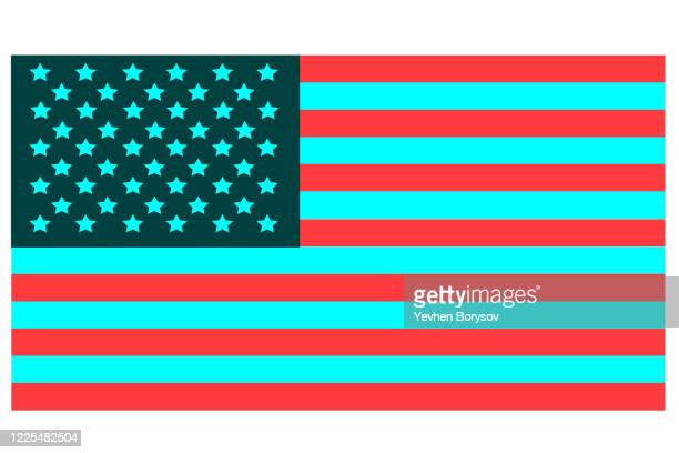 vector illustration of usa flag in social media colors. conceptual illustration of the impact of web media on the country. illustration for flag day - banner vector stock pictures, royalty-free photos & images