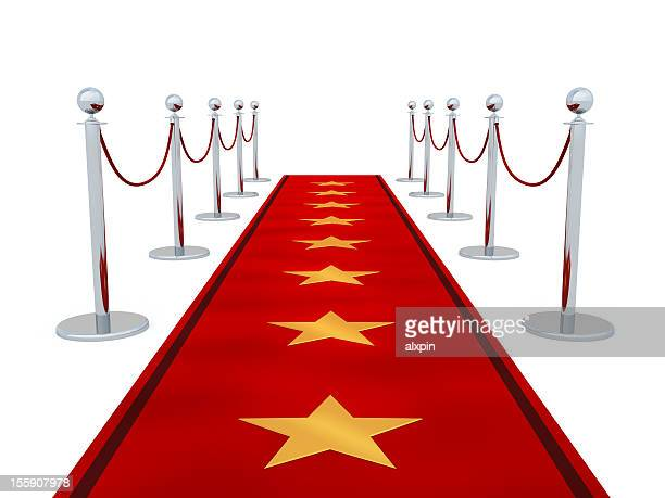 Vector image of a red carpet with stars