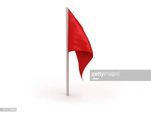vector image of a red flag isolated in a white background - golf flag stock photos and pictures