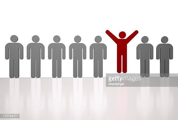 Vector image of a row of gray men with red one jumping up