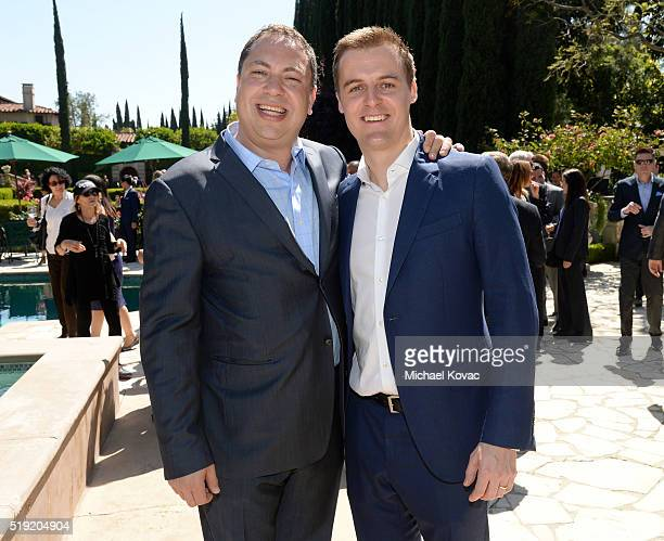 Vector OMG Partner Eric Ortner and Global Poverty Project CEO Hugh Evans attend the 2016 Jane Ortner Education Award Luncheon on April 4 2016 in...