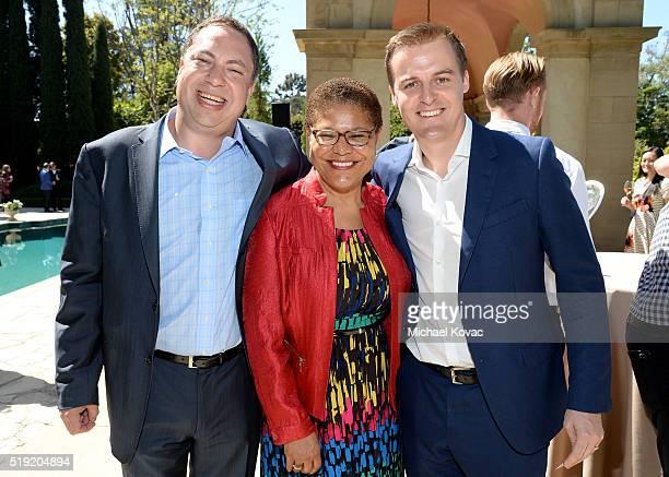 Vector OMG Partner Eric Ortner Congresswoman Karen Bass and Global Poverty Project CEO Hugh Evans attend the 2016 Jane Ortner Education Award...