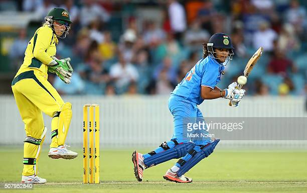 Veda Krishnamurthy of India bats during game one of the Women's ODI series between Australia and India at Manuka Oval on February 2 2016 in Canberra...