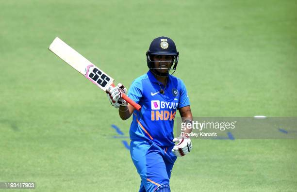 Veda Krishnamurthy of India celebrates scoring a century during the first match in the One Day International series between Australia A and India A...