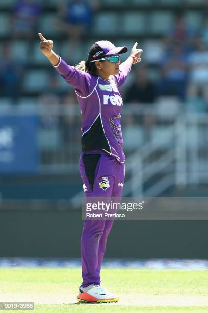 Veda Krishnamurthy of the Hobart Hurricanes celebrates the wicket of Deandra Dottin of the Brisbane Heat during the Women's Big Bash League match...