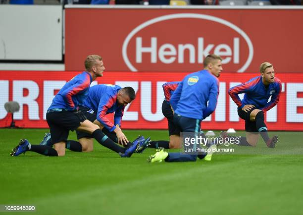 Vedad Ibisevic and Arne Maier of Hertha BSC warm up before the game between Fortuna Duesseldorf and Hertha BSC at the Merkur SpielArena on november...