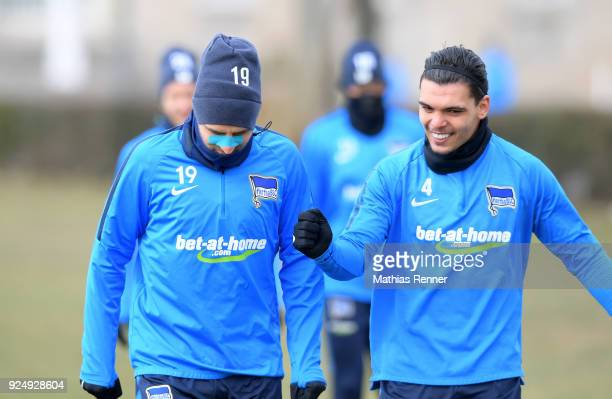 Vedad Ibisevic and Karim Rekik of Hertha BSC during a training session at Schenkendorfplatz on February 27 2018 in Berlin Germany