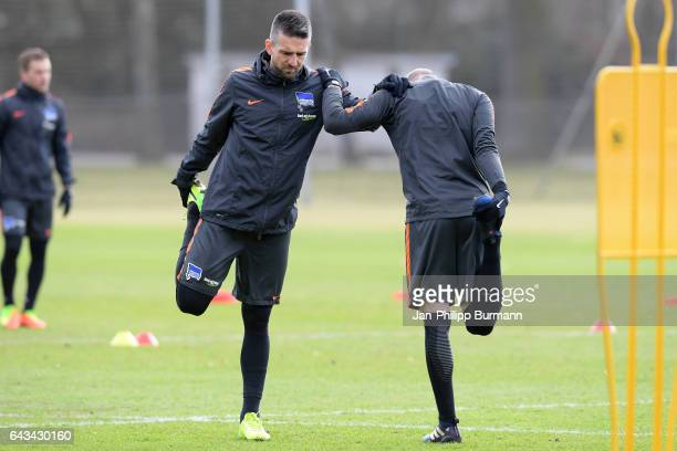 Vedad Ibisevic and Ondrej Duda of Hertha BSC during a training session on February 21 2017 in Berlin Germany
