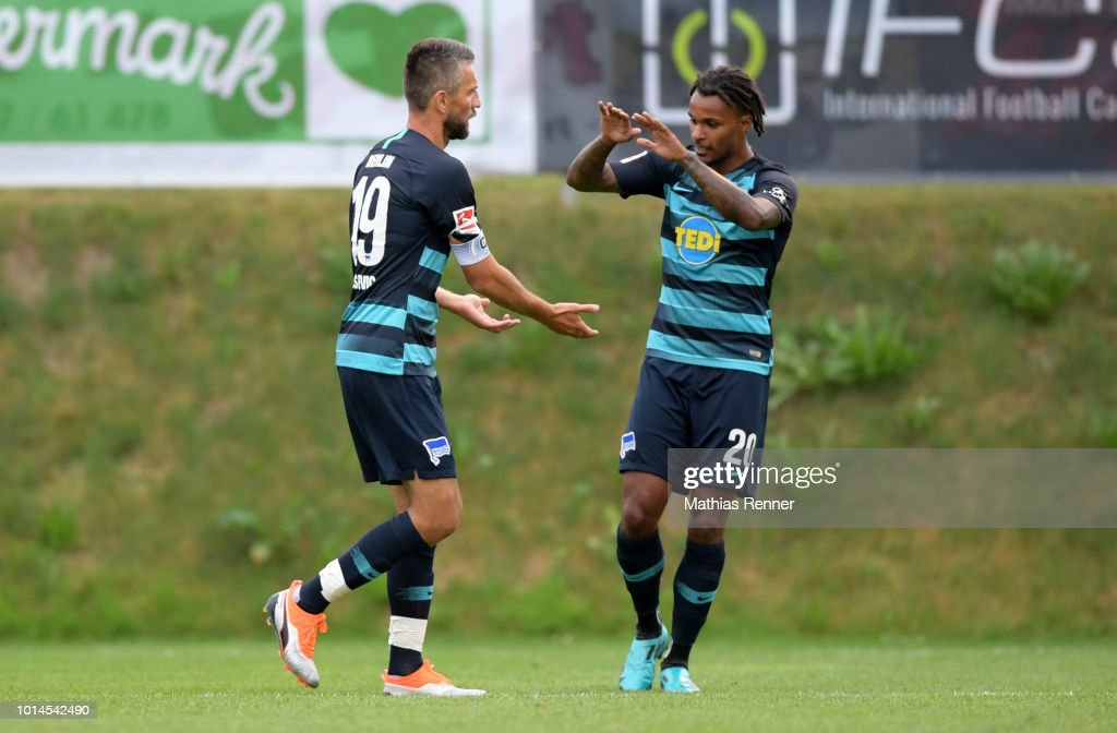 Vedad Ibisevic and Valentino Lazaro of Hertha BSC celebrate during the test test match between Hertha BSC and Aiginiakos FC at the Athletic Area Schladming on august 10, 2018 in Schladming, Austria.