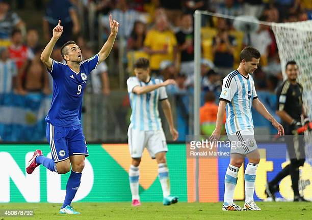 Vedad Ibisevic Bosnia and Herzegovina celebrates scoring his team's first goal during the 2014 FIFA World Cup Brazil Group F match between Argentina...
