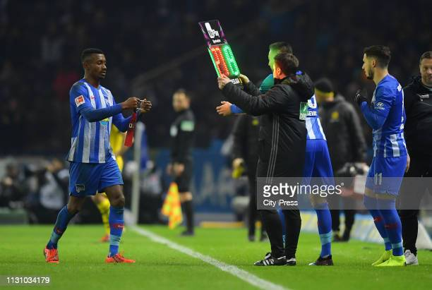 Vedad Ibisevic comes on during a substitute for Salomon Kalou of Hertha BSC during the German Bundesliga match between Hertha BSC and Borussia...
