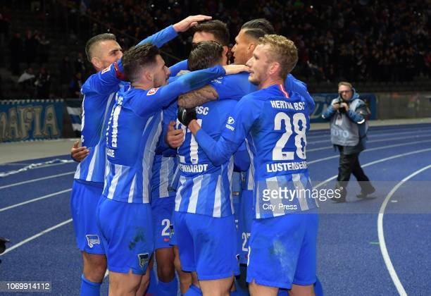 Vedad Ibisevic Mathew Leckie Marvin Plattenhardt Davie Selke and Fabian Lustenberger of Hertha BSC celebrate after scoring the 10 during the game...