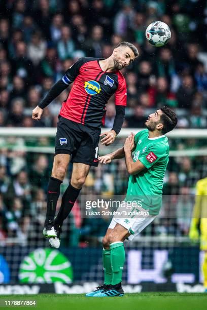 Vedad Ibisevic of Berlin and Nuri Sahin of Bremen in actionduring the Bundesliga match between SV Werder Bremen and Hertha BSC at Wohninvest...