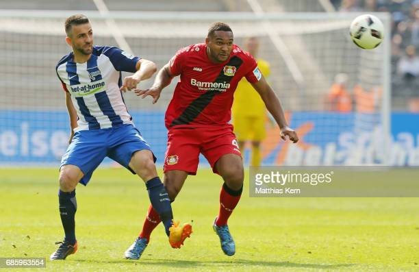 Vedad Ibisevic of Berlin battles for the ball with Jonathan Tah of Leverkusen during the Bundesliga match between Hertha BSC and Bayer 04 Leverkusen...