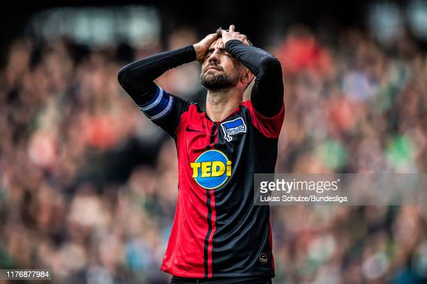 Vedad Ibisevic of Berlin looks disappointed during the Bundesliga match between SV Werder Bremen and Hertha BSC at Wohninvest Weserstadion on October...