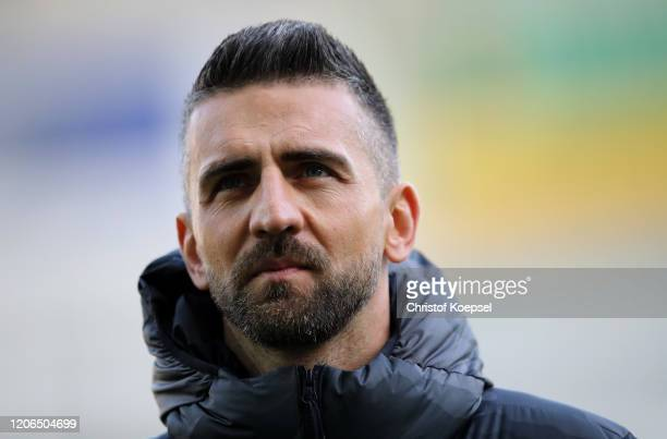 Vedad Ibisevic of Berlin looks on prior to the Bundesliga match between SC Paderborn 07 and Hertha BSC at Benteler Arena on February 15 2020 in...