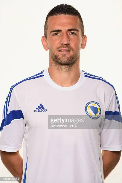 Vedad Ibisevic of Bosnia and Herzegovina poses during the official Fifa World Cup 2014 portrait session on June 7 2014 in Sao Paulo Brazil