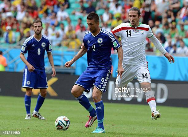 Vedad Ibisevic of Bosnia vies for the ball with Andranik Timotian of Iran during the 2014 FIFA World Cup Group F soccer match between...