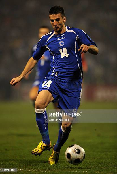 Vedad Ibisevic of Bosnia-Herzegovina during the FIFA2010 World Cup Qualifier 2nd Leg match between Bosnia-Herzegovina and Portugal at stadium Bolini...