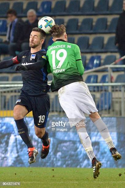 Vedad Ibisevic of Hertha and Florian Huebner of Hannover battle for the ball during the HHotelscom Wintercup match between Hertha BSC and Hannover 96...