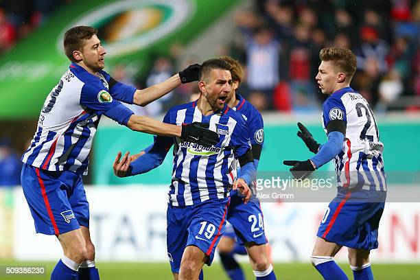Vedad Ibisevic of Hertha Berlin celebrates scoring his side's first goal during the DFB Cup quarter final match between 1. FC Heidenheim and Hertha...