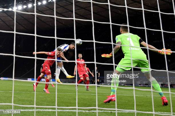 Vedad Ibisevic of Hertha Berlin heads his team's opening goal during the Bundesliga match between Hertha BSC and 1 FC Union Berlin at Olympiastadion...