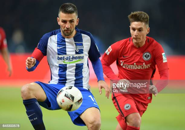 Vedad Ibisevic of Hertha BSC and Guillermo Varela of Eintracht Frankfurt during the game between Hertha BSC and the Eintracht Frankfurt on february...