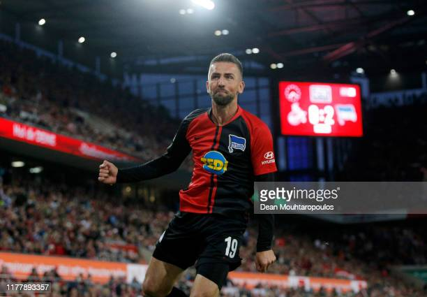 Vedad Ibisevic of Hertha BSC celebrates after scoring his team's third goal during the Bundesliga match between 1. FC Koeln and Hertha BSC at...