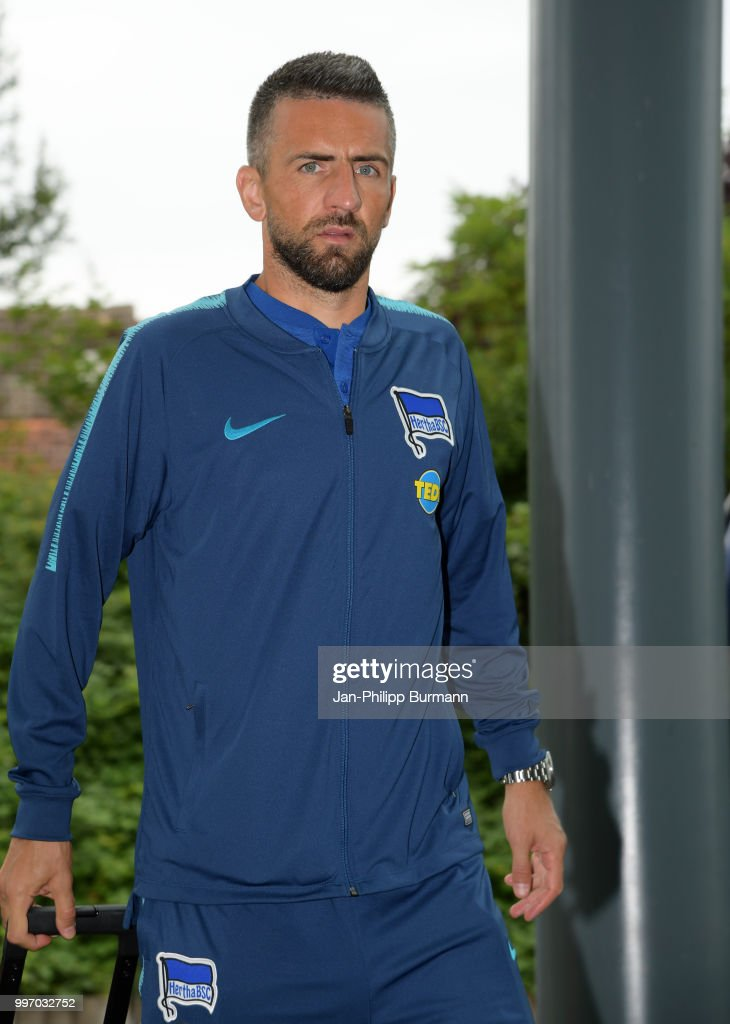 Vedad Ibisevic of Hertha BSC during a training camp on July 12, 2018 in Neuruppin, Germany.